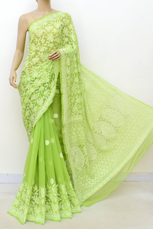 Green Hand Embroidered Lucknowi Chikankari Saree (Georgette-With Blouse) 14630