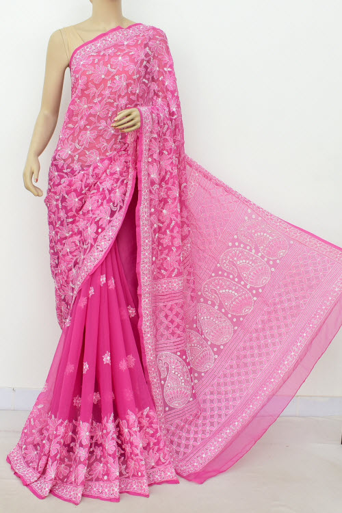 Deep Pink Hand Embroidered Lucknowi Chikankari Saree (Georgette-With Blouse) 14631