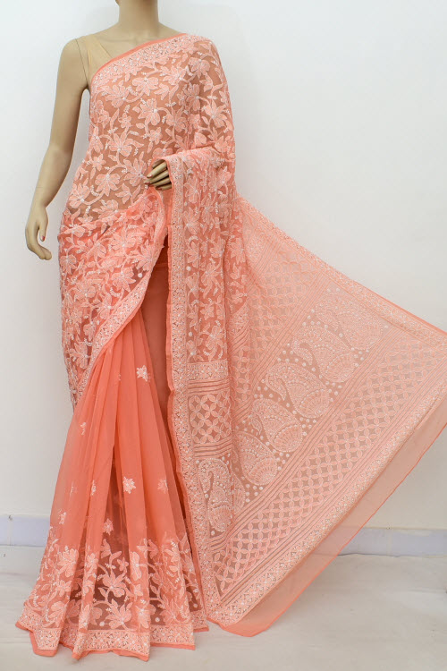 Orange Hand Embroidered Lucknowi Chikankari Saree (georgette-with Blouse) 14632