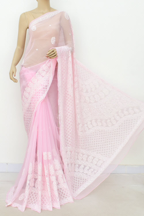 Pink Hand Embroidered Lucknowi Chikankari Saree (Georgette-With Blouse) 14634