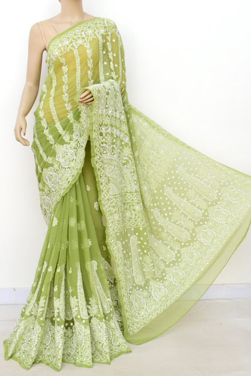 Green Hand Embroidered Lucknowi Chikankari Saree (Georgette-With Blouse) 14635