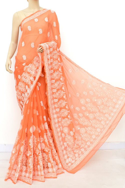 Orange Hand Embroidered Lucknowi Chikankari Saree (Georgette-With Blouse) 14640
