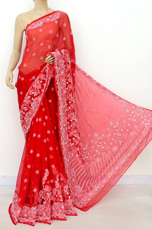 Red Hand Embroidered Lucknowi Chikankari Saree (Georgette-With Blouse) 14643