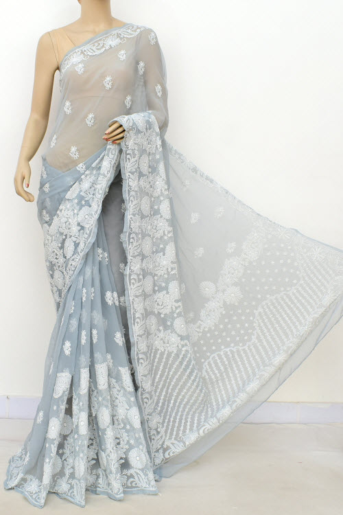 Grey Hand Embroidered Lucknowi Chikankari Saree (Georgette-With Blouse) 14646