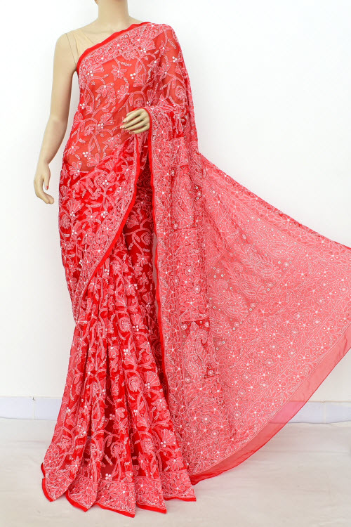 Red Hand Embroidered Lucknowi Chikankari Saree With Allover Mukaish Work (Georgette-With Blouse) 14948