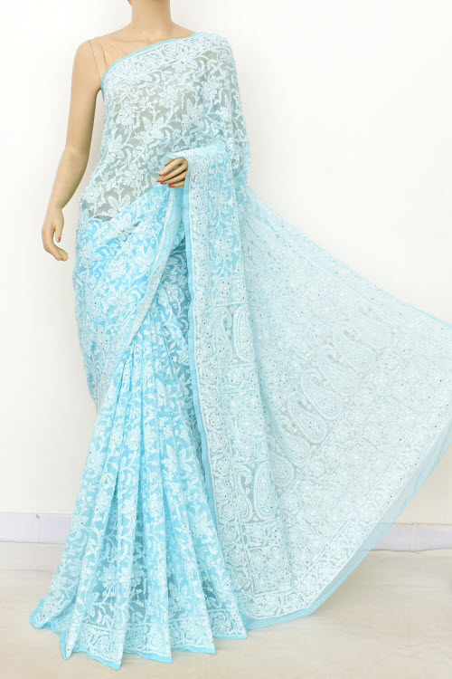 Blue Hand Embroidered Lucknowi Chikankari Saree with Allover Mukaish (Georgette-With Blouse) 14949