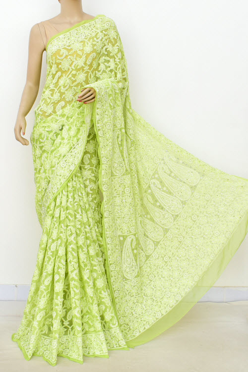 Green Hand Embroidered Lucknowi Chikankari Saree with Allover Mukaish (Georgette-With Blouse) 14950