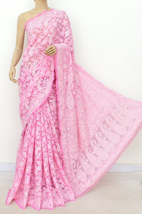 Pink Hand Embroidered Lucknowi Chikankari Saree With Allover Mukaish (georgette-with Blouse) 14951