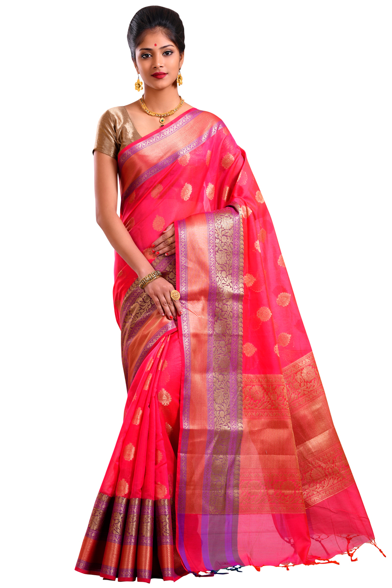 Pink Color Zari Work And Resham-Zari Bordered Chanderi Saree
