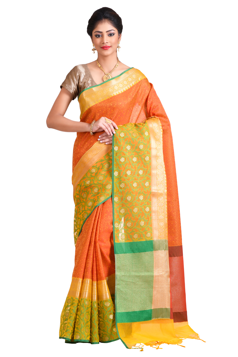 Pastel Yellow-rust Color Cora Weaving Saree With Zari Border