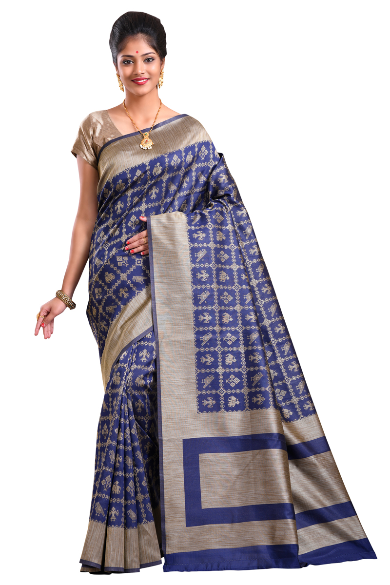 Dark Blue Color Handloom Weaving Work Art Silk Saree With Resham Border