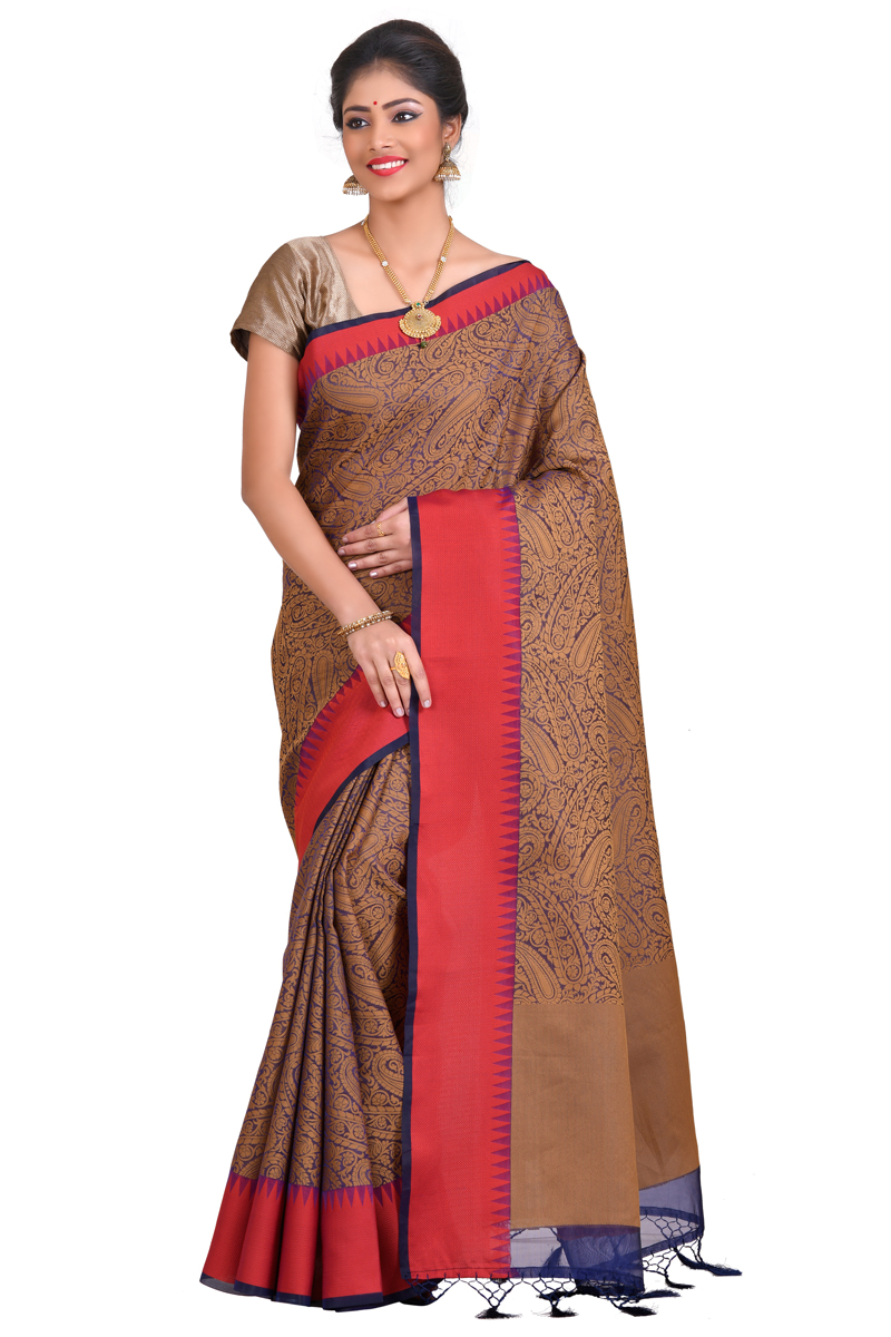 Brown Color Weaving Work On Cora Saree With Resham Border.