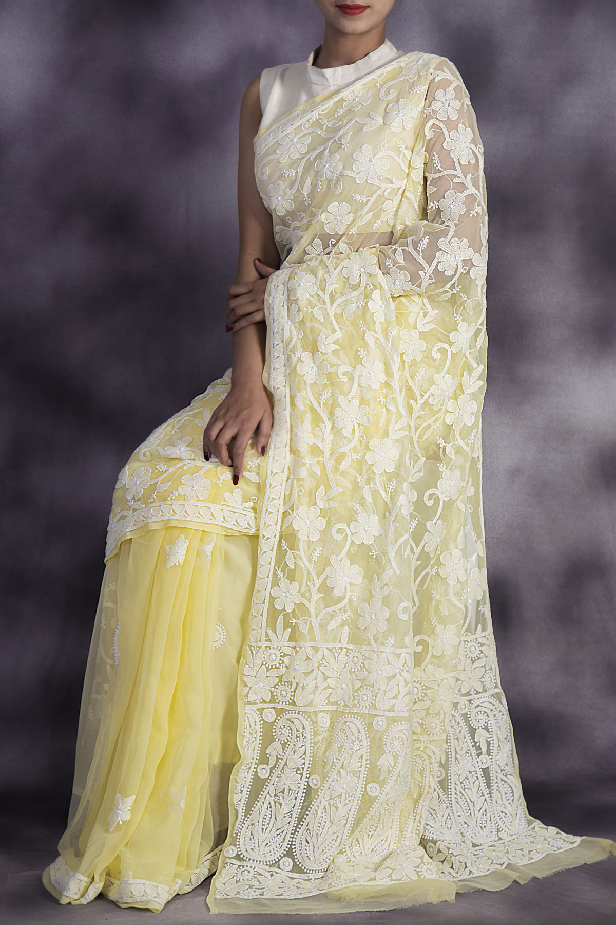 Hand Embroidered Yellow Colour Lucknowi Chikankari Saree (with Blouse - Georgette) Ga250601