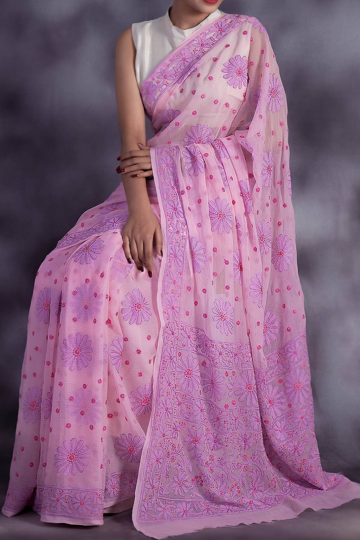 Exclusive Hand Embroidered Pink Colour Lucknowi Chikankari Saree (With Blouse - Georgette) GA250602
