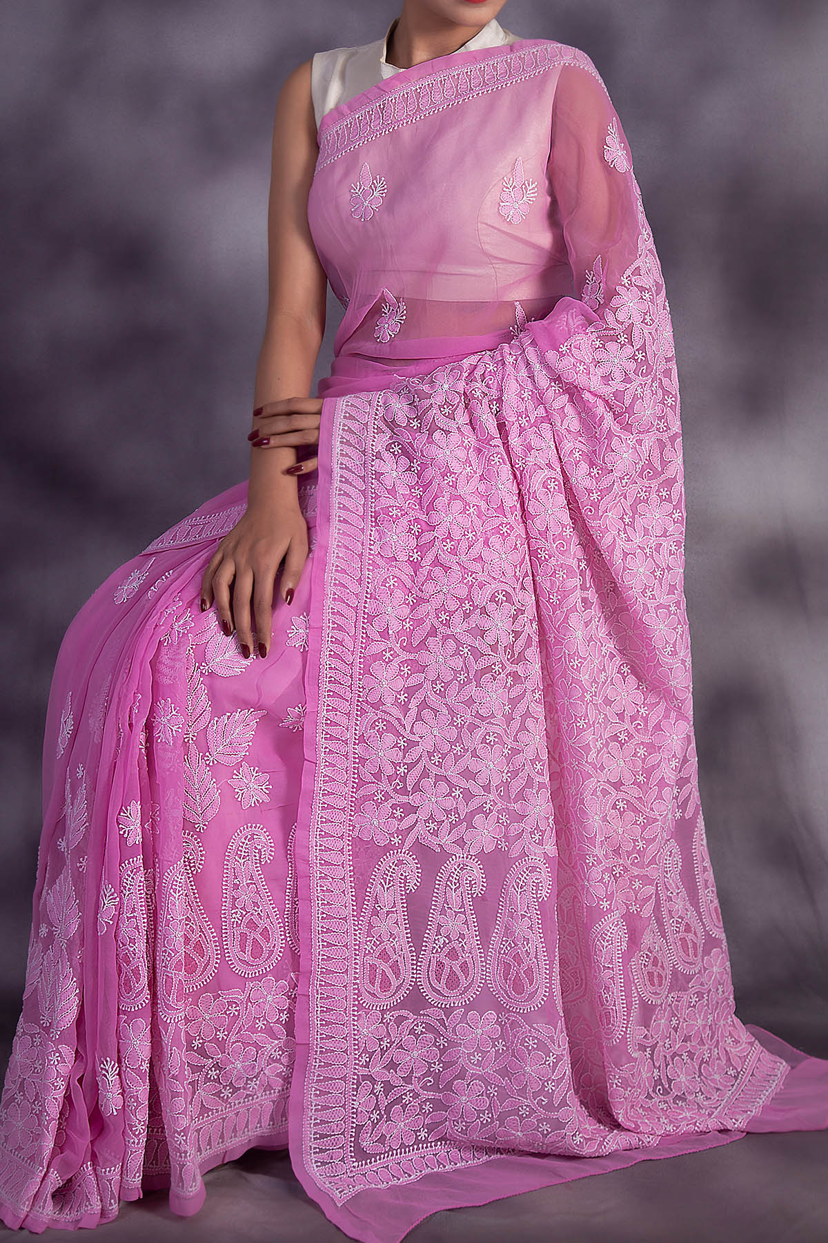 Partywear Hand Embroidered Darkpink Colour Lucknowi Chikankari Saree (With Blouse - Georgette) GA250604