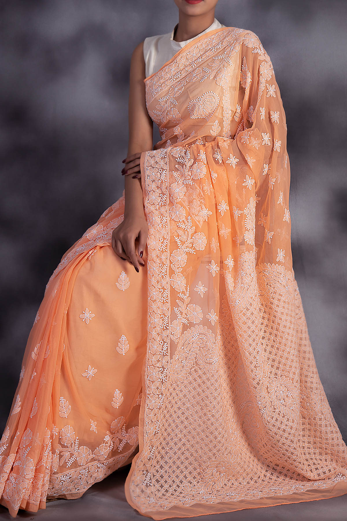 Hand Embroidered Orange Colour Lucknowi Chikankari Saree (With Blouse - Georgette) GA250605