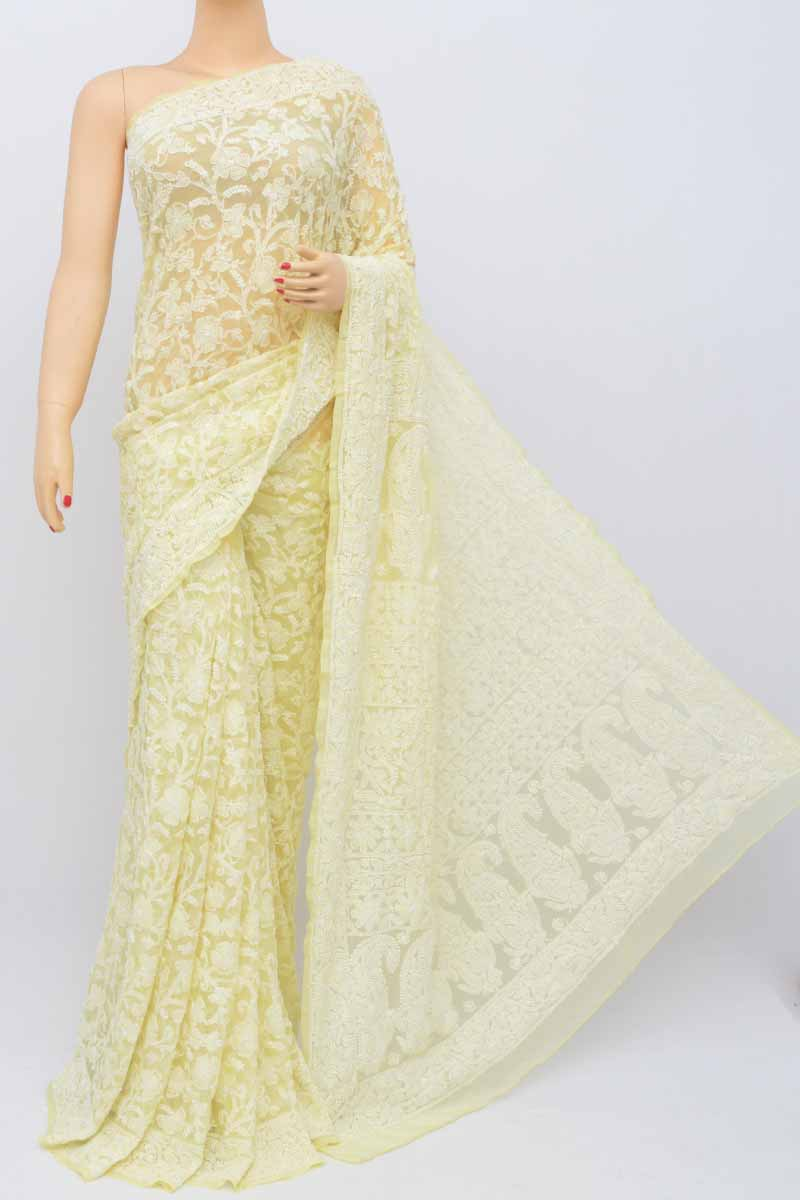 Butter Yellow Colour Allover Heavy Palla Hand Embroidered Lucknowi Chikankari Saree (with Blouse - Georgette) Ss250481