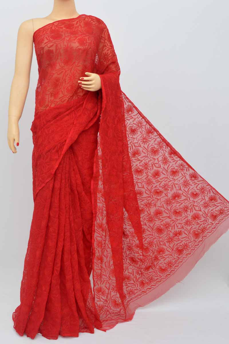 Red Color Hand Embroidered Tepchi Work Lucknowi Chikankari Saree (with Blouse - Georgette) My250482