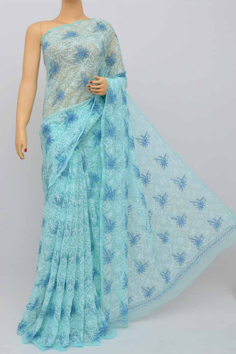 Blue Color Hand Embroidered Multithread Tepchi Work Lucknowi Chikankari Saree (With Blouse - Georgette) MY250486