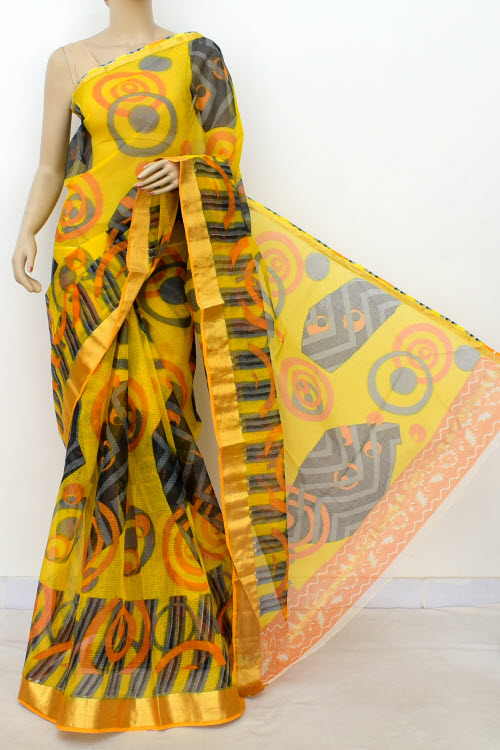 Premium Jp Kota Doria Floral Print Cotton Saree (without Blouse) 13505