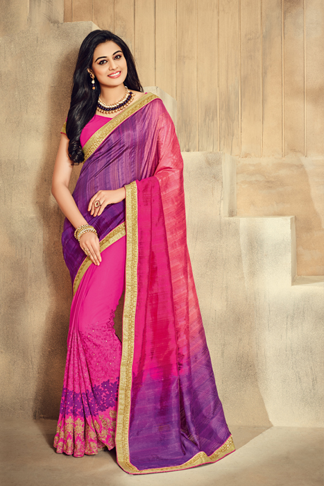 Purple And Shaded Rani Color Saree With Golden Border
