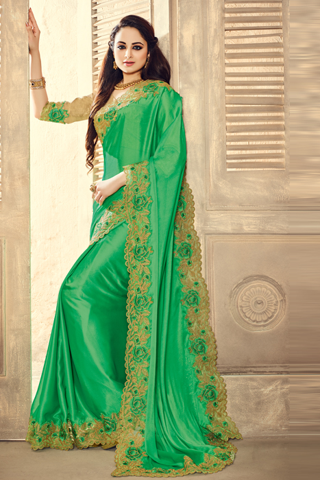 Light Green Semi Silk Saree With Cot Work Patch Border