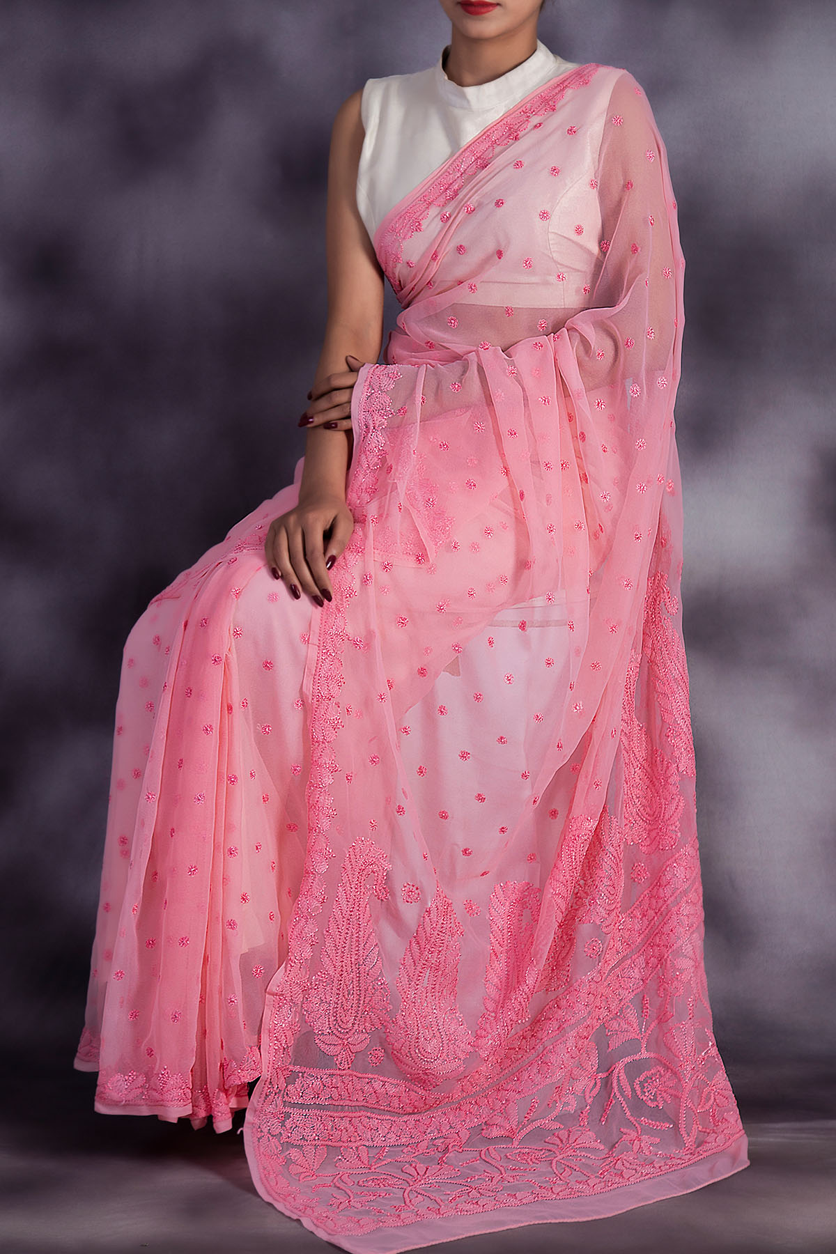 Hand Embroidered Pink Colour Lucknowi Chikankari Saree (With Blouse - Georgette) GA250608