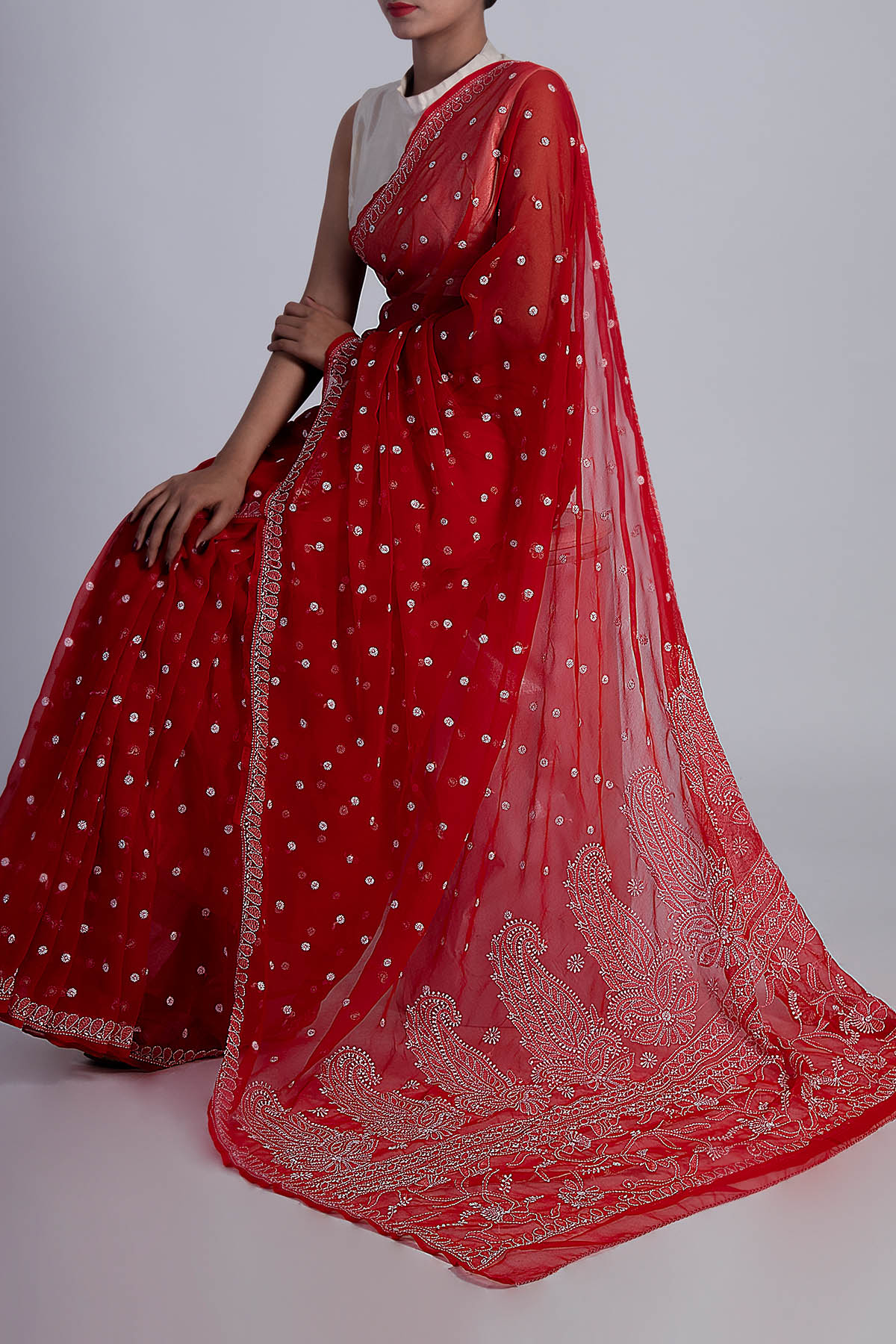 Hand Embroidered Red Colour Lucknowi Chikankari Saree (With Blouse - Georgette) GA250609