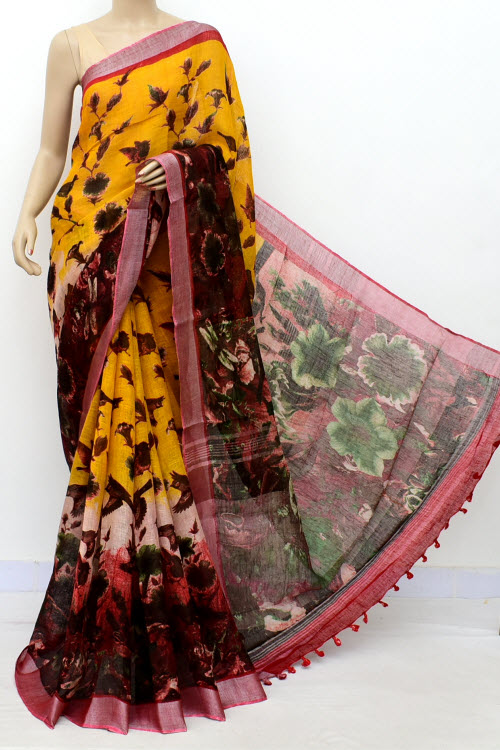Yellow Color Printed Lenin Textured Traditional Saree (With Blouse)16296