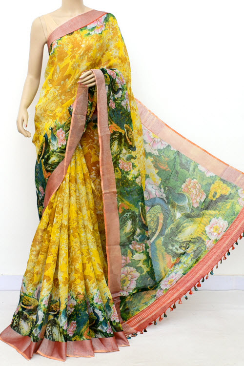 Yellow Color Printed Lenin Textured Traditional Saree (With Blouse)16298