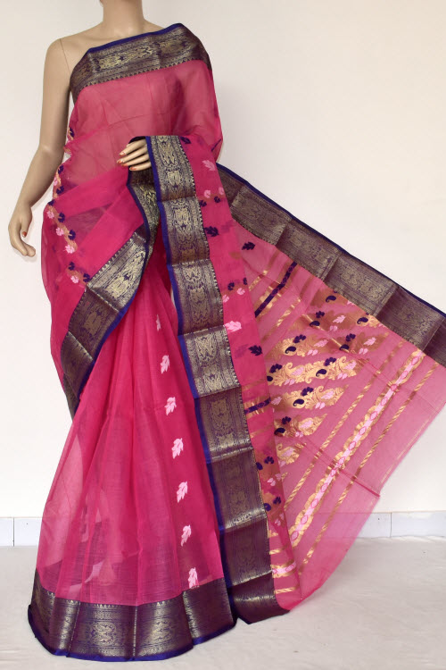 Pink Handwoven Bengal Tant Cotton Saree (Without Blouse) Zari Border Rich Pallu 14257