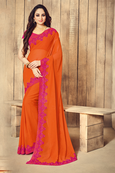 Orange Semi Silk Saree With Rani Color Background