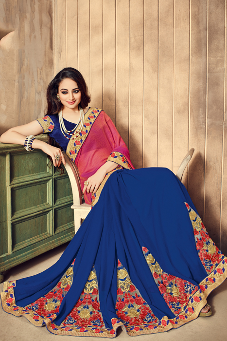 Designer Half And Half  Saree With Particular  Embroidered