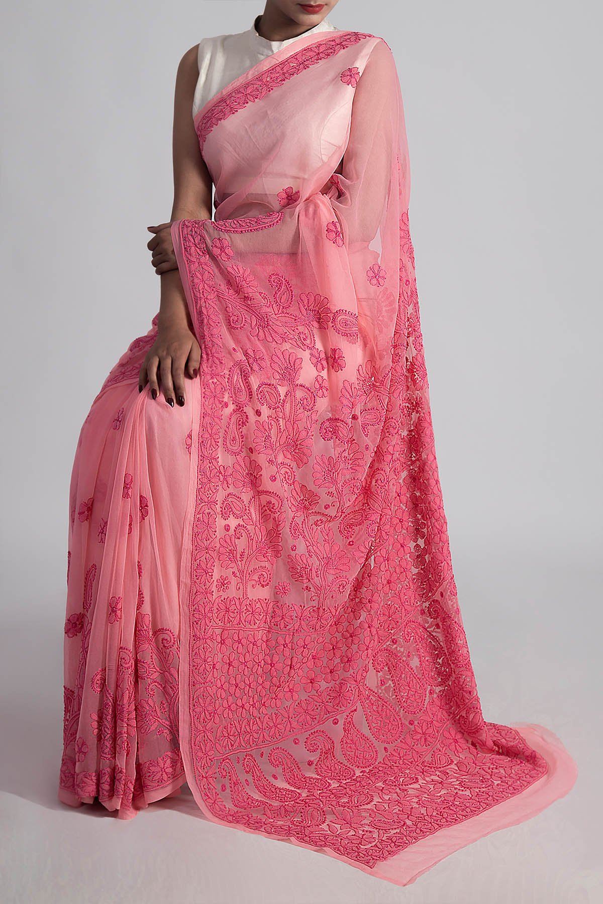 Hand Embroidered Peach Colour Lucknowi Chikankari Saree (With Blouse - Georgette) GA250613