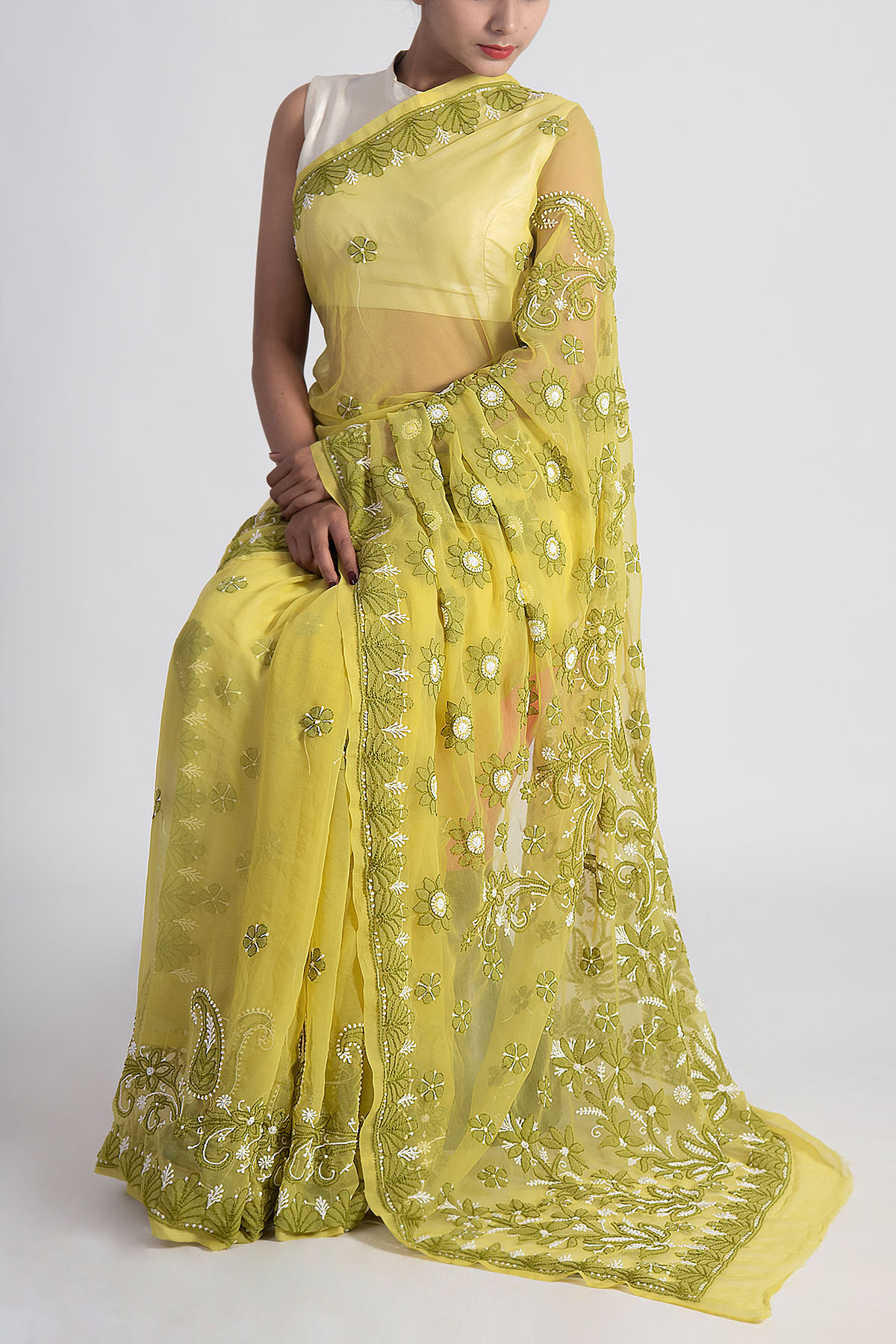 Hand Embroidered Green Colour Lucknowi Chikankari Saree (With Blouse - Georgette) GA250614