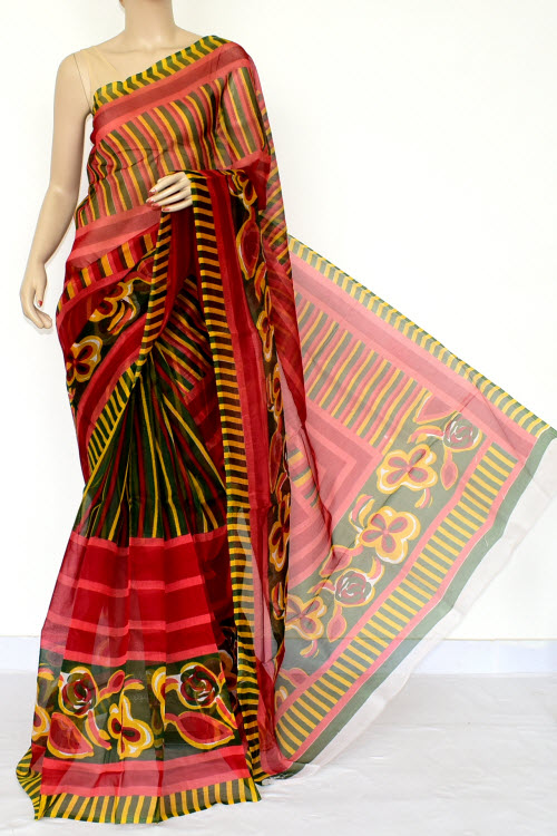 Multi-Color Designer Supernet Embroidered Saree (Without Blouse) 15453