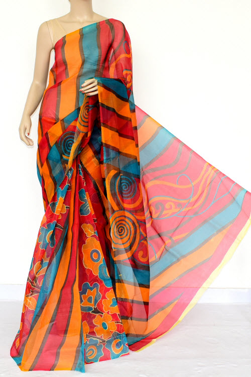 Multi-color Designer Supernet Embroidered Saree (without Blouse) 15454