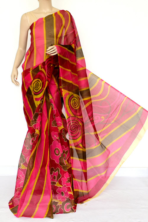 Multi-Color Designer Supernet Embroidered Saree (Without Blouse) 15455
