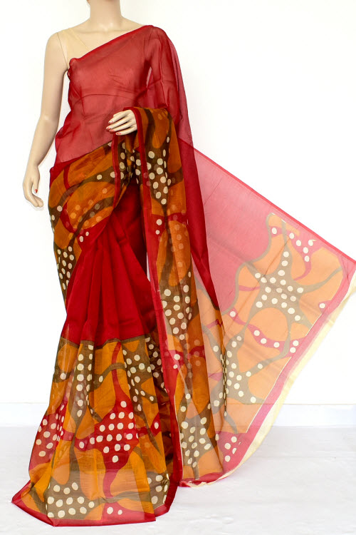 Multi-color Designer Supernet Embroidered Saree (without Blouse) 15458