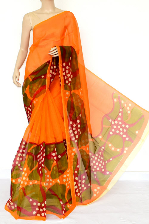 Multi-color Designer Supernet Embroidered Saree (without Blouse) 15459