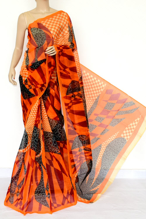 Orange Designer Supernet Embroidered Saree (Without Blouse) 15461