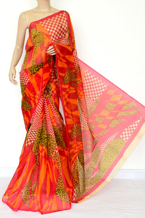 Multi-color Designer Supernet Embroidered Saree (without Blouse) 15462