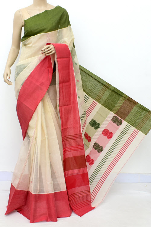 Offwhite Colour Handwoven Bengal Handloom Cotton Saree (without Blouse) 17460