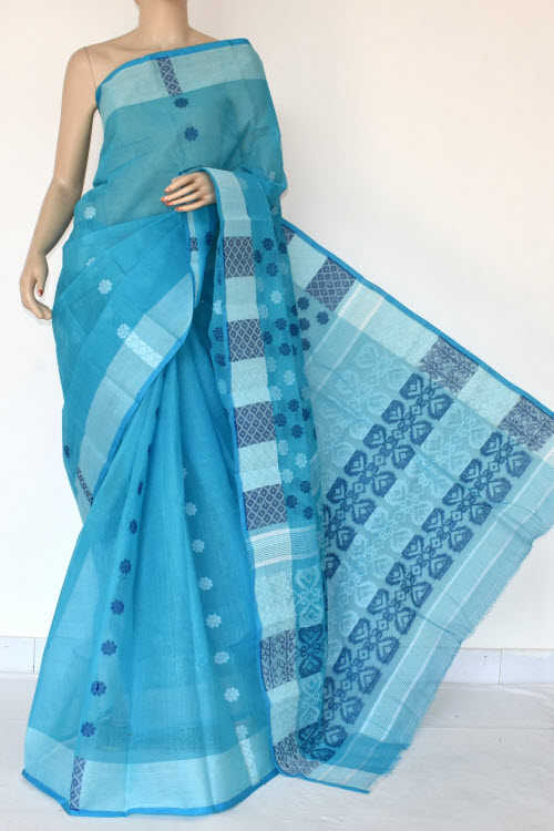 Pherozi Blue Handwoven Bengal Tant Cotton Saree (Without Blouse) 16987