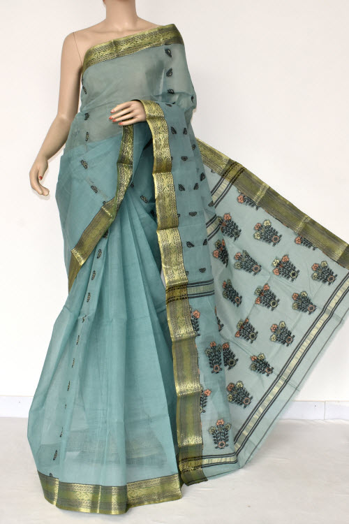Greenish Grey Handwoven Bengal Tant Cotton Saree (without Blouse) Zari Border 17388