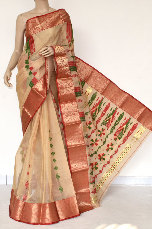 Beige Handwoven Bengal Tant Cotton Saree (Without Blouse) Copper Zari Border 17405