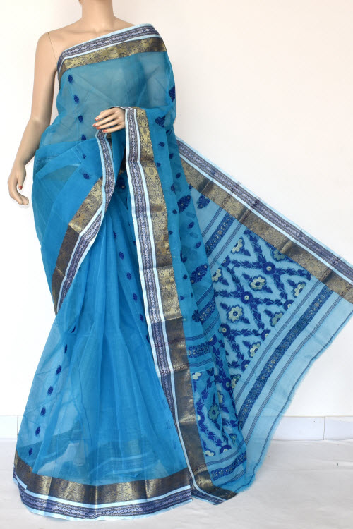 Firozi Handwoven Bengal Tant Cotton Saree (Without Blouse) Zari Border 17416
