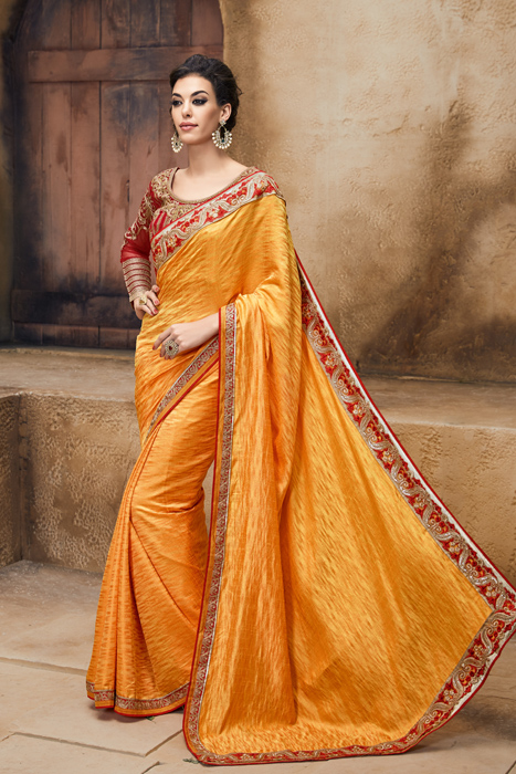 Mind blowing Art Silk Saree In Gold Yellow And Red Blouse  With Embellishment