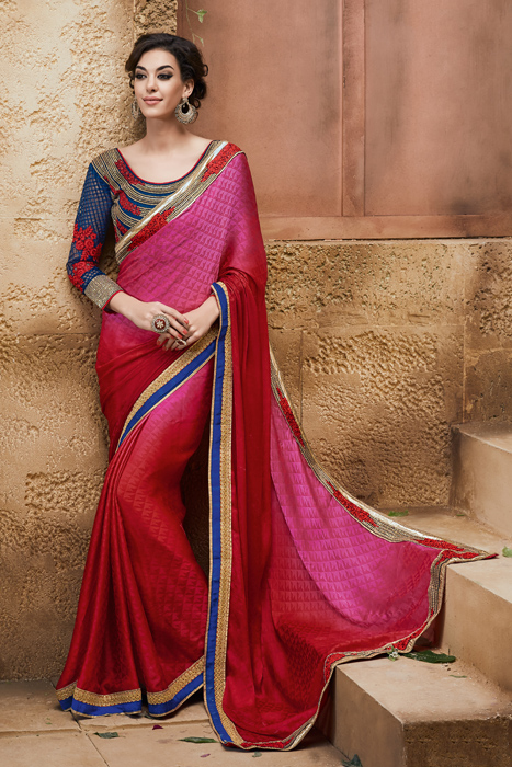 Red And Shaded Saree Saree With Applique Gold And Blue Border And Designer Blouse Piece