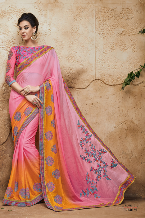 Unique Saree Design And Perfect Print  With Embroidery And Embellished